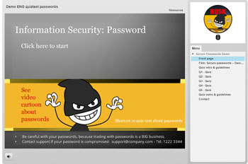 Quiz demo Password from Kelsa Media and 'Humour against hacking'