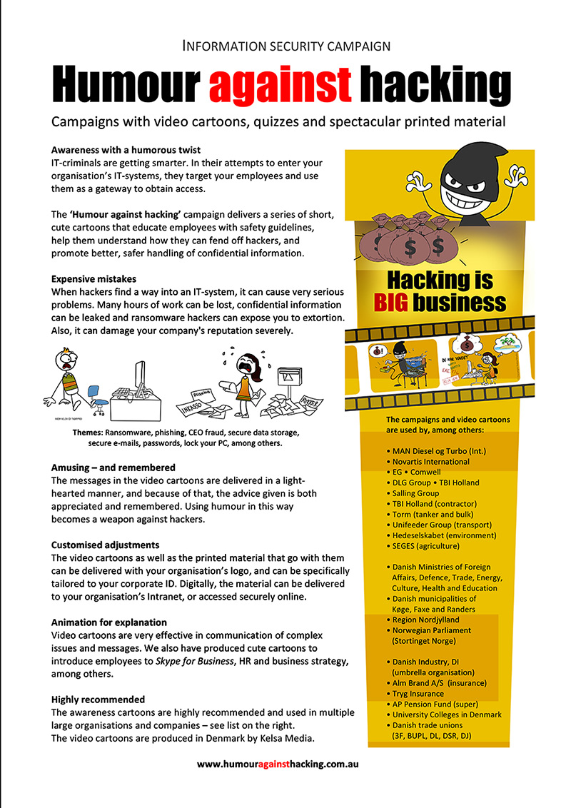 Humour against hacking - an IT security awareness campaign for employees - info sheet page 1